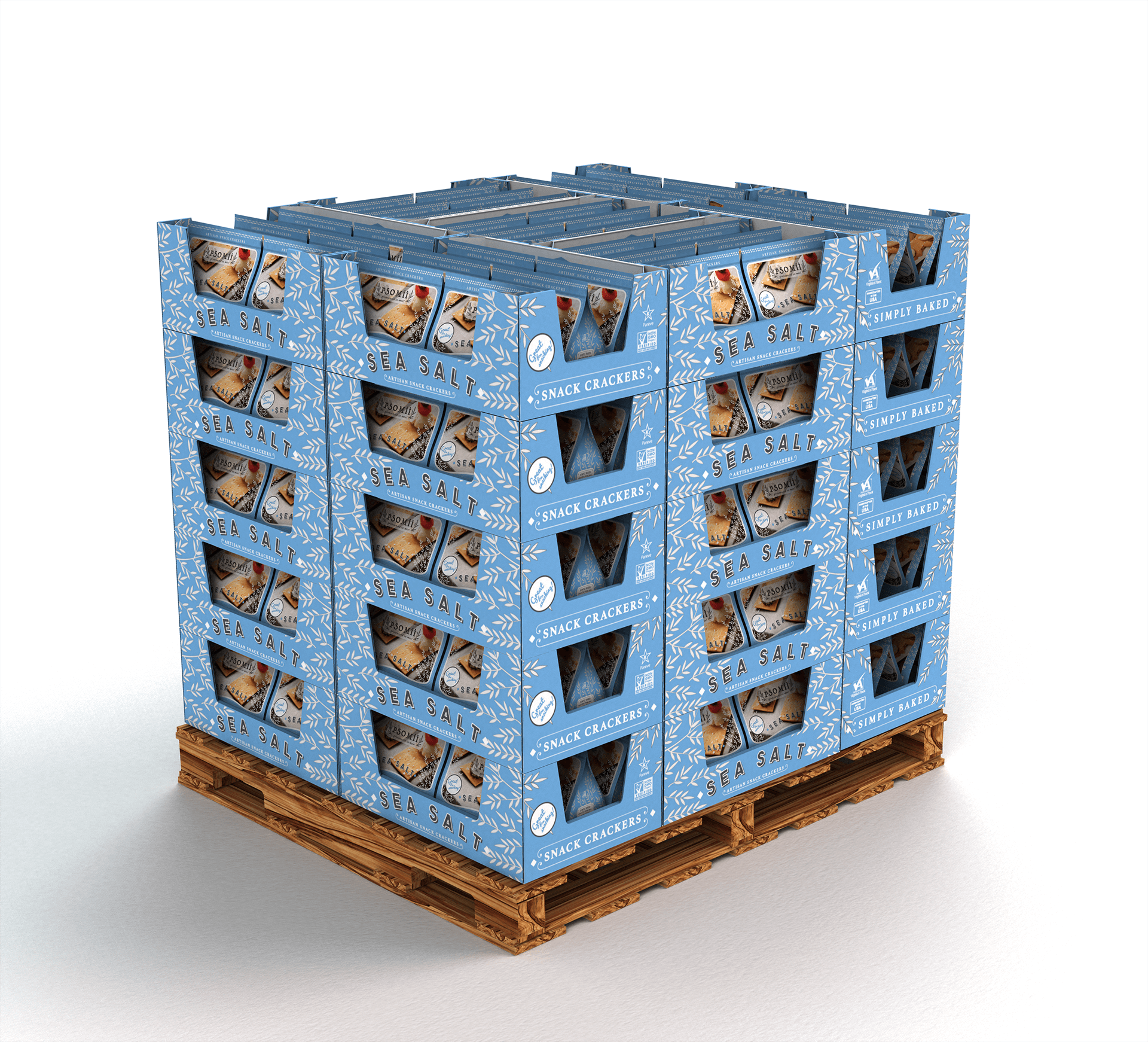 digital product rendering three quarter pallet corrugated box shippable tray